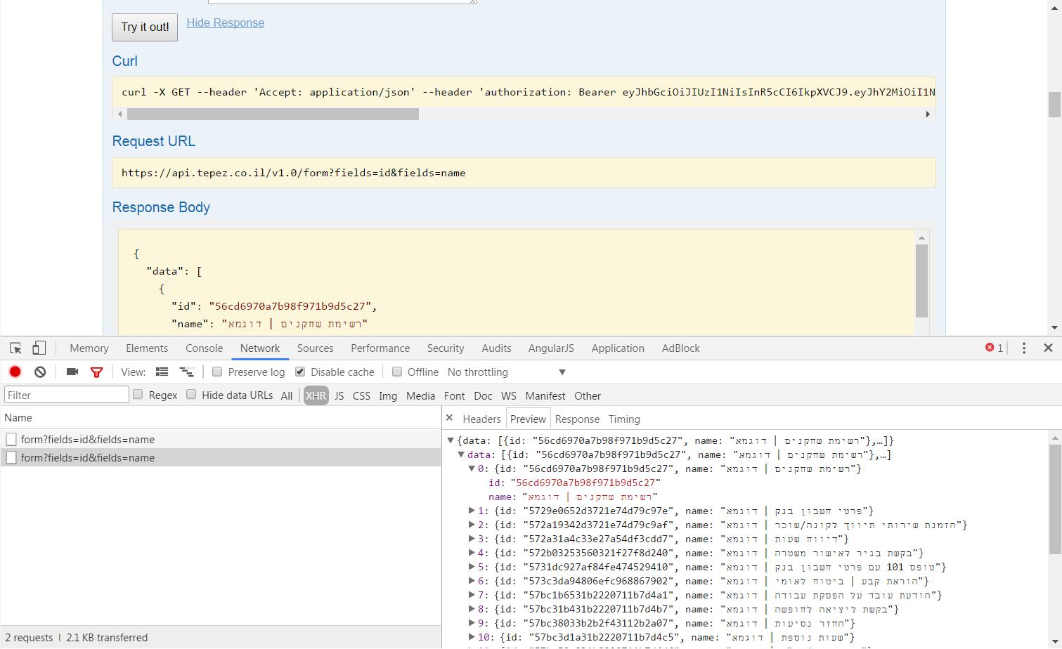 בחינת בקשות ותשובות עם developer tools